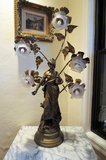 Vintage Spelter Bronze Finish Lamp After Louis Auguste